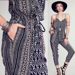 Free People 'Sunset' Open Back Print Jumpsuit-NWT